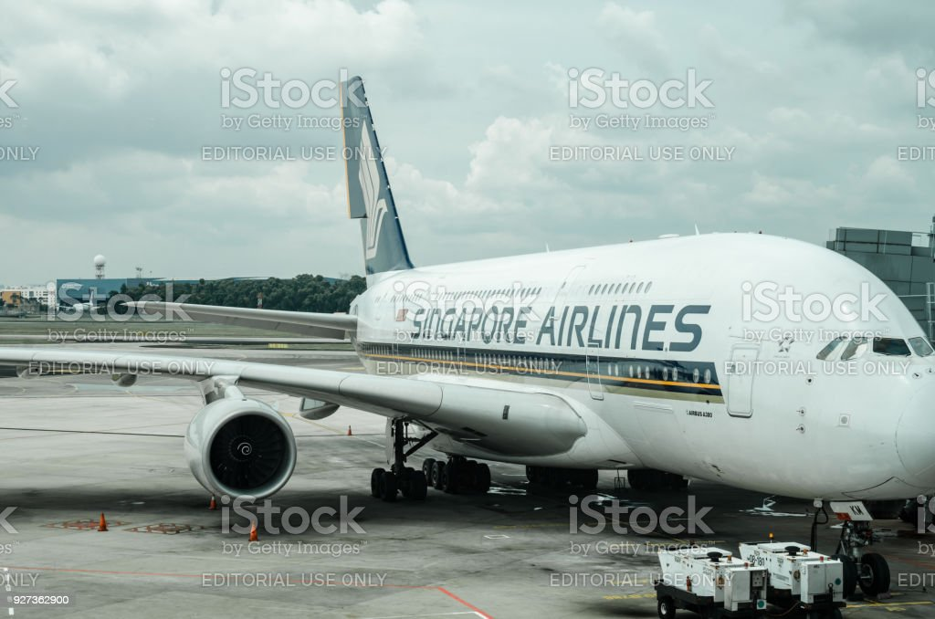 SIngapore Airline at Changi Airport Terminal 1. - Royalty-free Air Vehicle Stock Photo