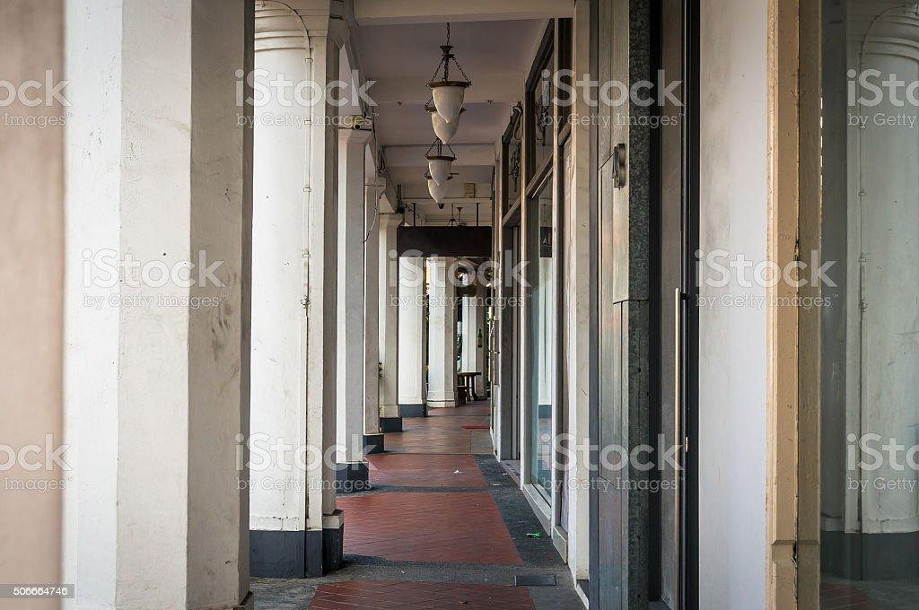 Singapore arcade street stock photo