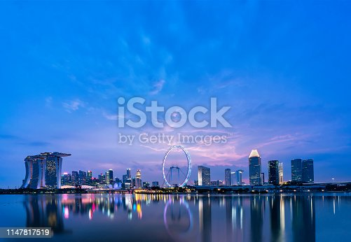 Panoramic view of Singapore skyline taken from Garden by the bay east after sunset.