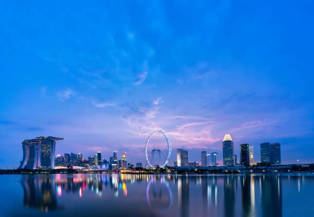 싱가포르 앳 블루 아워 - 싱가포르 뉴스 사진 이미지