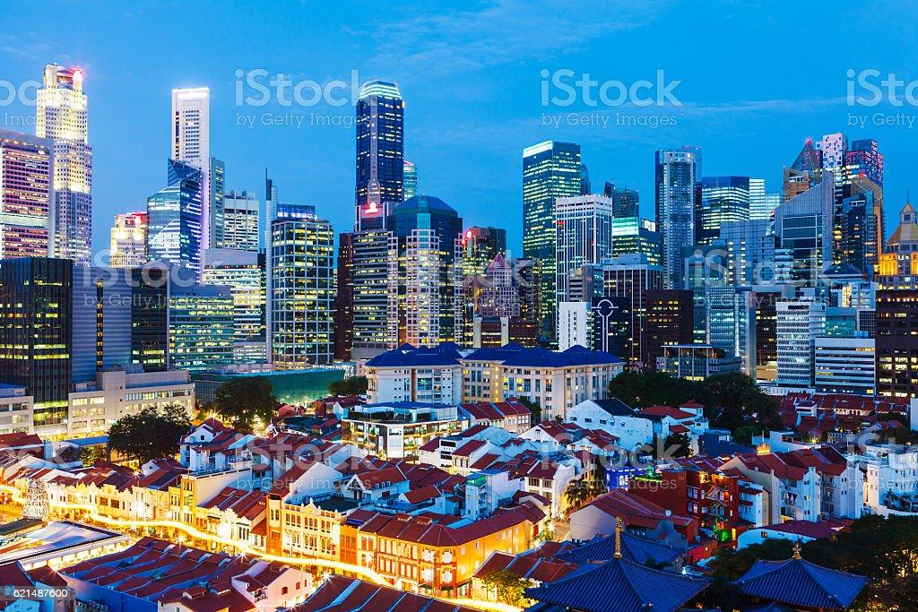 Singapour de nuit photo libre de droits