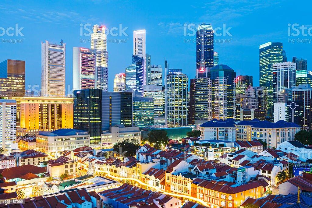 Singapore di notte foto stock royalty-free