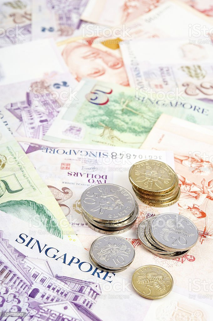 Singapore Banknotes and Coins royalty-free stock photo