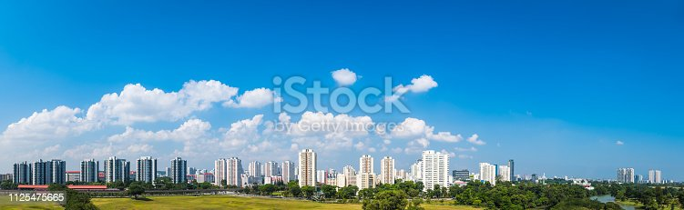 Big panoramic blue skies over the futuristic high rise housing of Jurong in central Singapore.