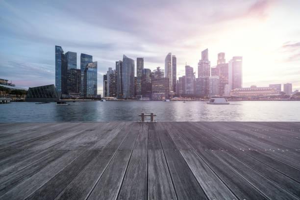 Singapur Geschäft Stadt Sonnenuntergang – Foto