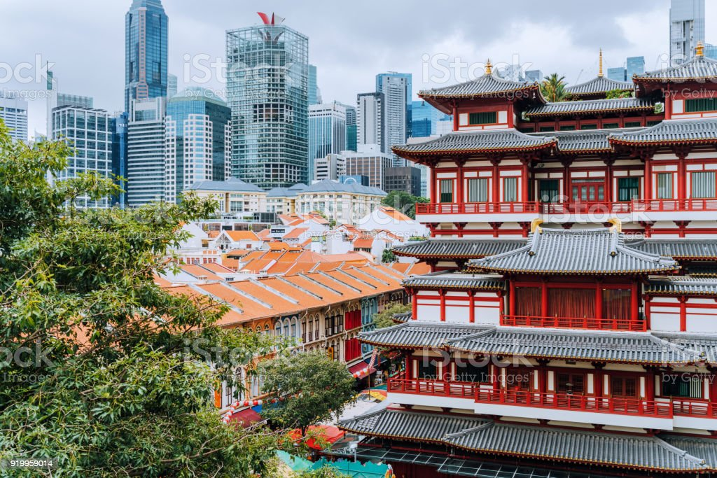 Singapur Geschäftsviertel gesehen von Chinatown – Foto
