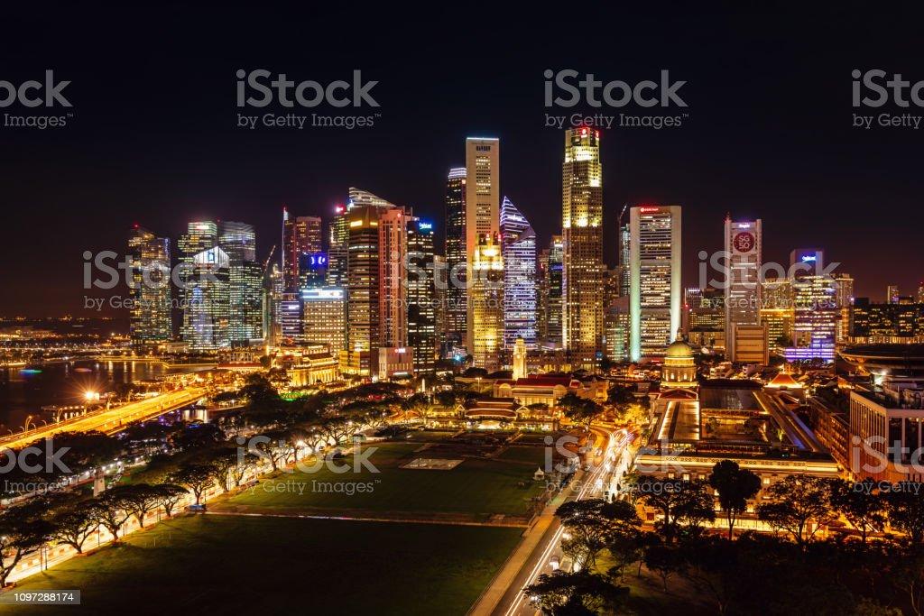 Singapore Business District Skyline at Night stock photo