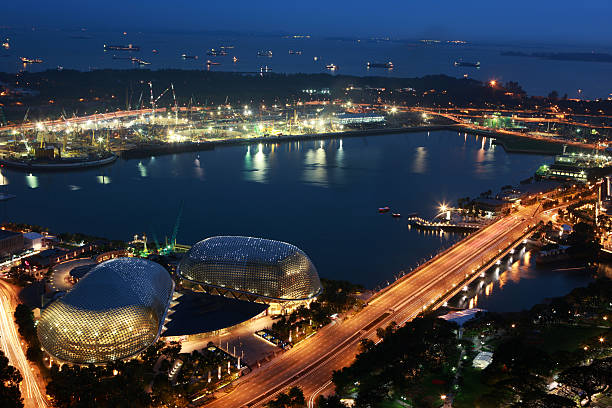 Singapore by night  esplanade theater stock pictures, royalty-free photos & images