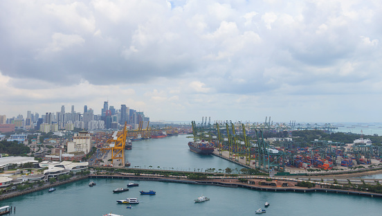 Singapore cargo terminal port, arial view from cabel car