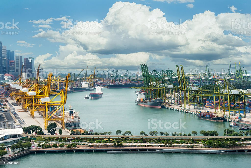 Singapore cargo terminal,one of the busiest port stock photo