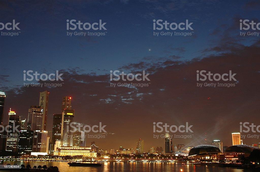 Singapore CBD skyline 2005 (dusk) royalty-free stock photo