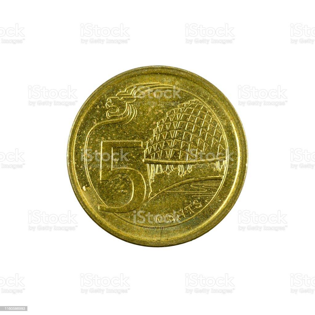 20 Singapur Cent Münze Obvers Isoliert Auf Weißem Hintergrund ...