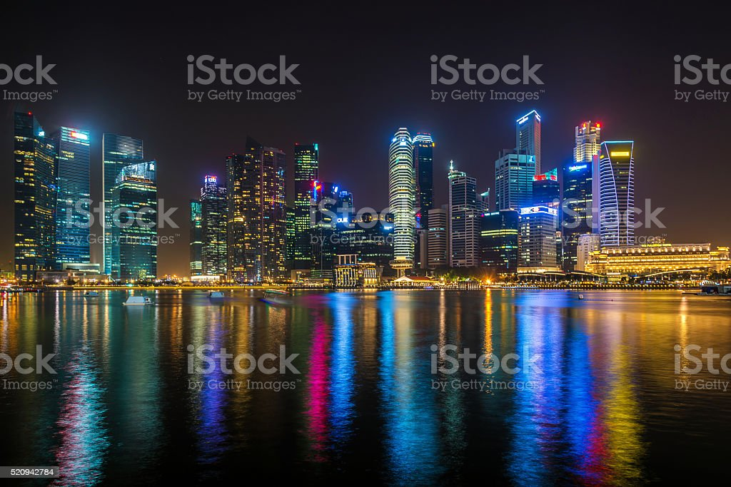 Singapore center with night view and skyscrapers stock photo