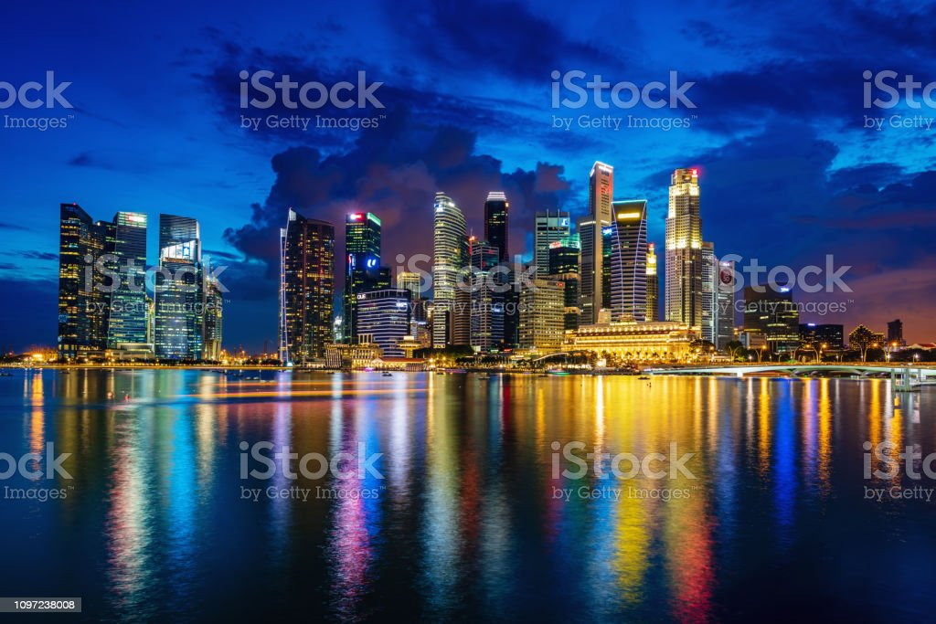 Singapore Central Business District at Dusk stock photo