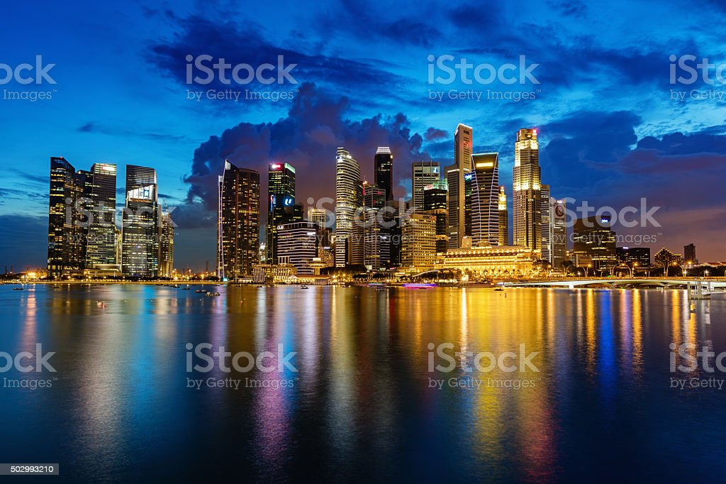 Singapore Central Business District at Dusk royalty-free stock photo