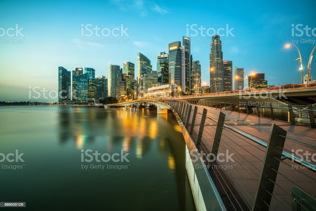 Singapore central business district skyline at blue hour stock photo