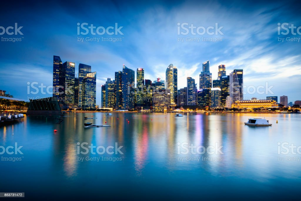Singapore central business district skyline stock photo
