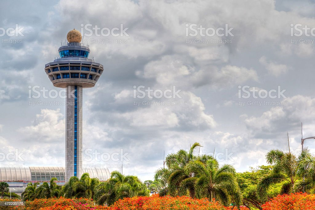 Singapore Changi Airport Traffic Controller Tower stock photo