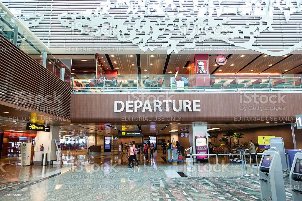 Singapore Changi International Airport Departure Hall stock photo
