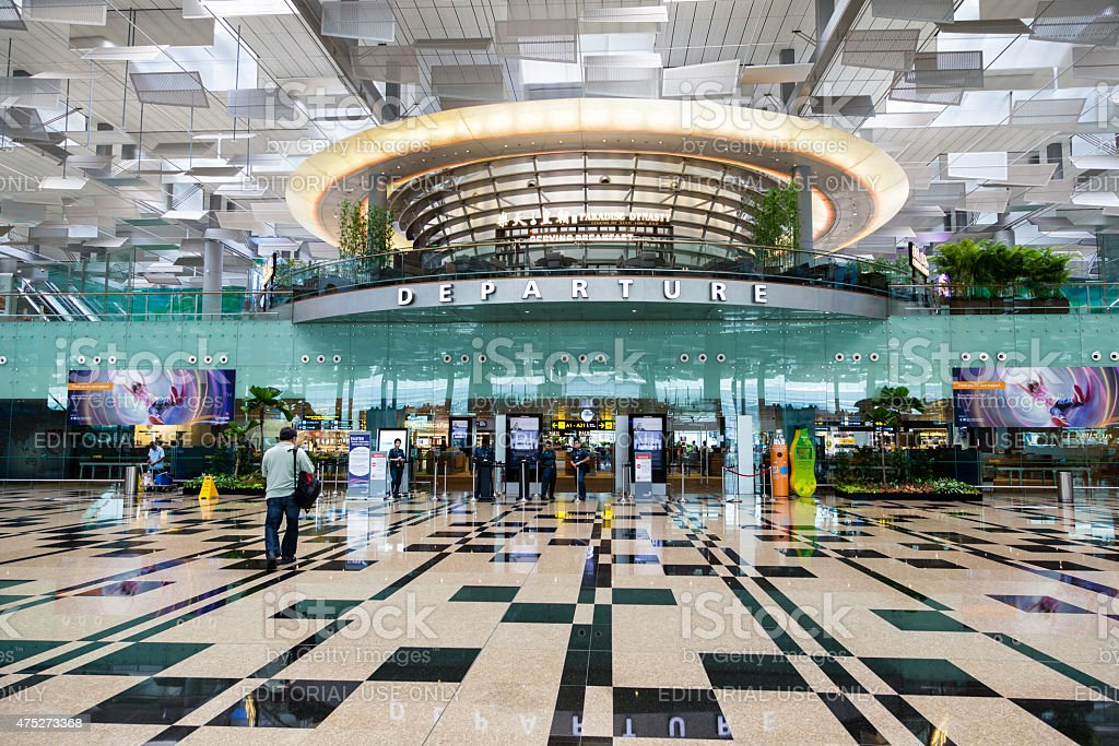 Singapore Changi International Airport Departure Hall stock photo