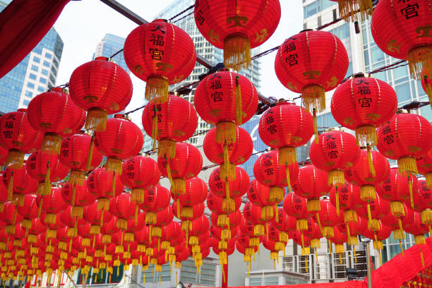Singapore Chinatown red paper lanterns decoration stock photo