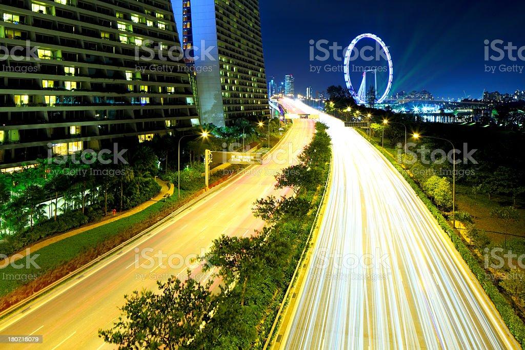 Singapore city at night royalty-free stock photo