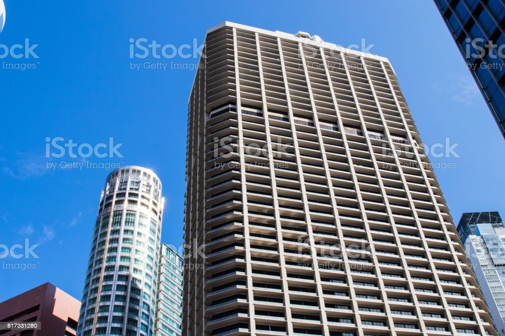 Singapore city business district buildings stock photo