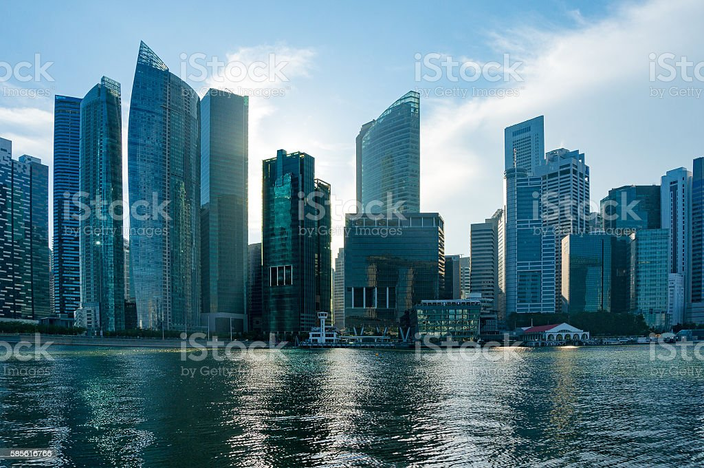 Singapore city downtown skyscrapers office buildings of modern m – Foto