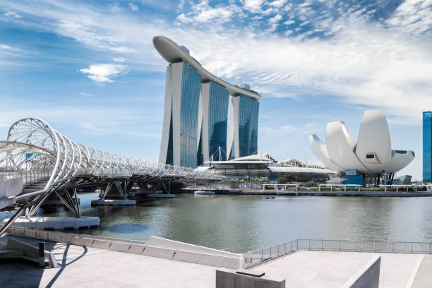 singapore city landscape at day blue sky. pedestrian dna bridge at marina bay view. urban cityscape - marina bay sands stock photos and pictures