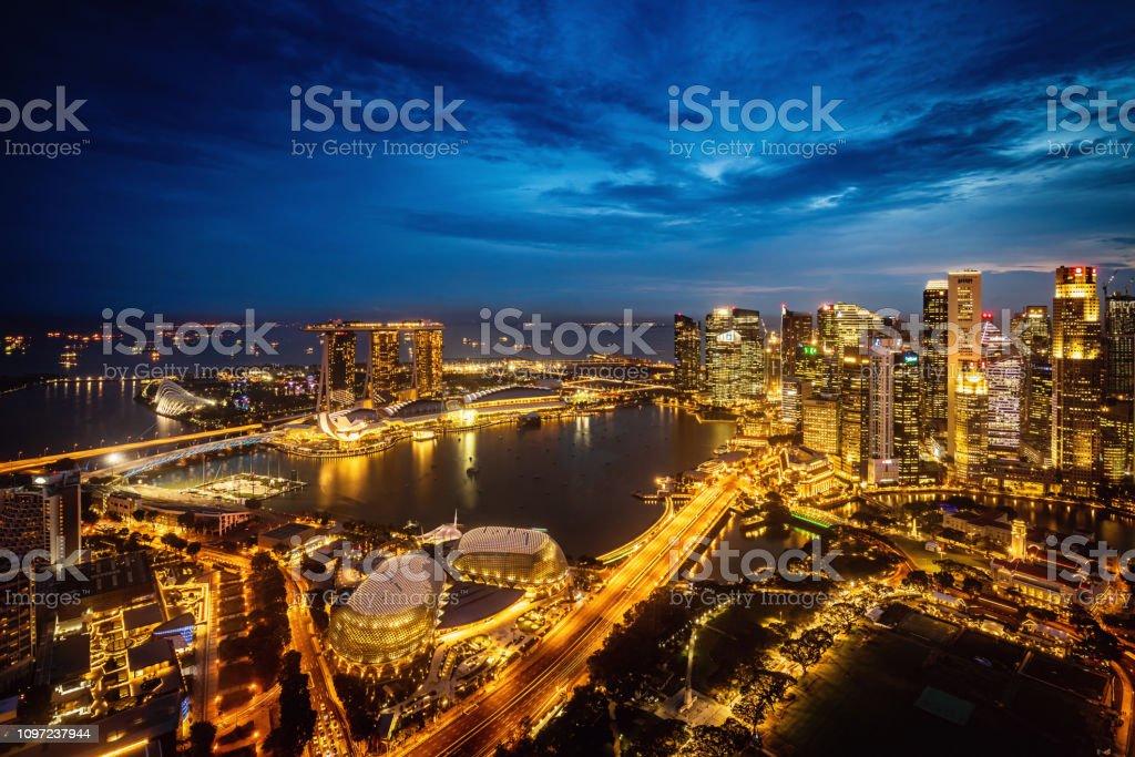 Singapore City Skyline at Night Marina Bay stock photo