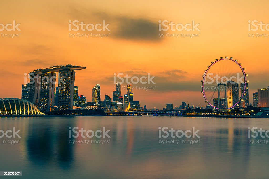 Singapore City Skyline at Sunset stock photo