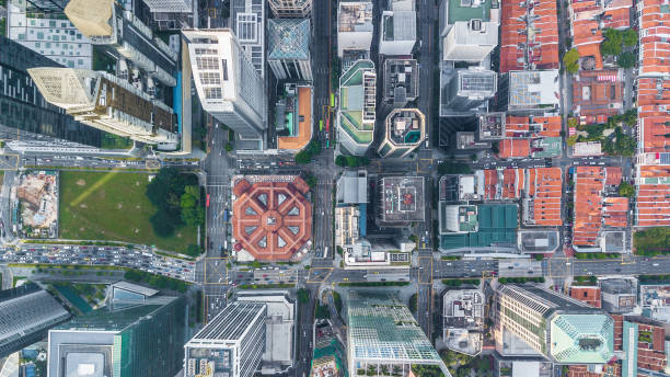 Singapore city skyline business building and financial district, Aerial top view Singapore City. Singapore city skyline business building and financial district, Aerial top view Singapore City. urban sprawl stock pictures, royalty-free photos & images