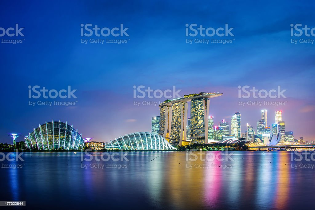 Singapore city skyline by night stock photo