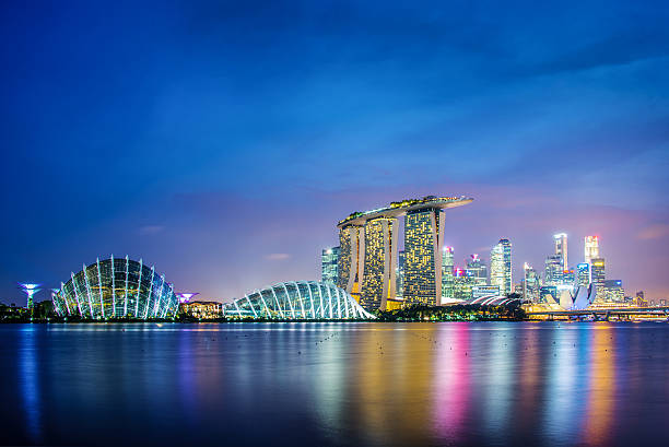 singapore city skyline by night - singapore nature stock photos and pictures