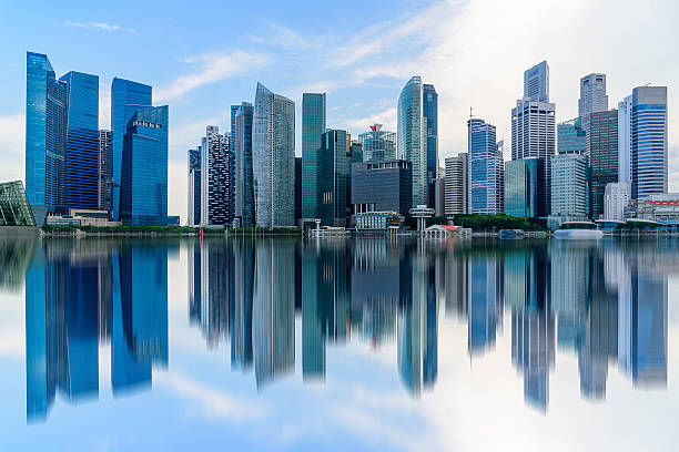 singapore city skyline of business district downtown in daytime. - singapore nature stock photos and pictures