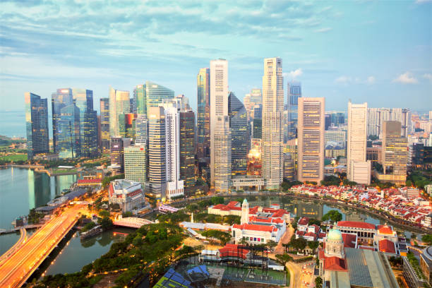 Singapore city skyline stock photo