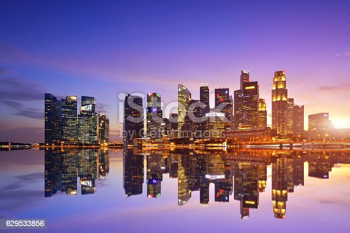 Singapore city skyline and financial center district at the sunset.