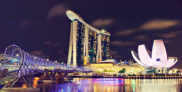 singapore city-state.night cityscape. - marina bay sands stock photos and pictures