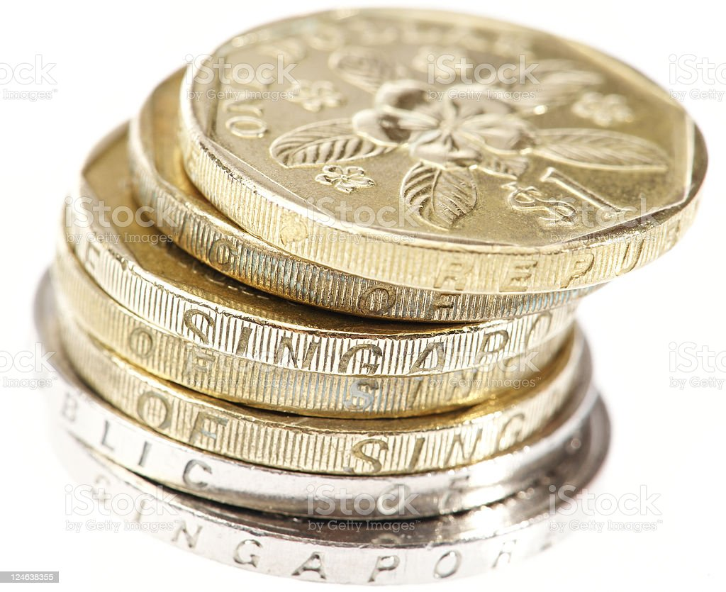 Singapore Coins stock photo