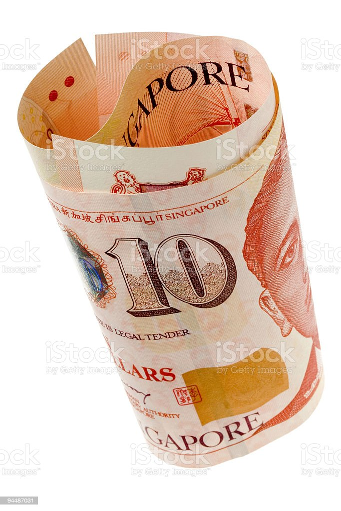 Singapore currency rolled royalty-free stock photo