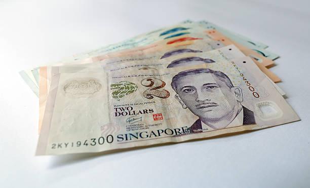 Singapore Dollar on white background