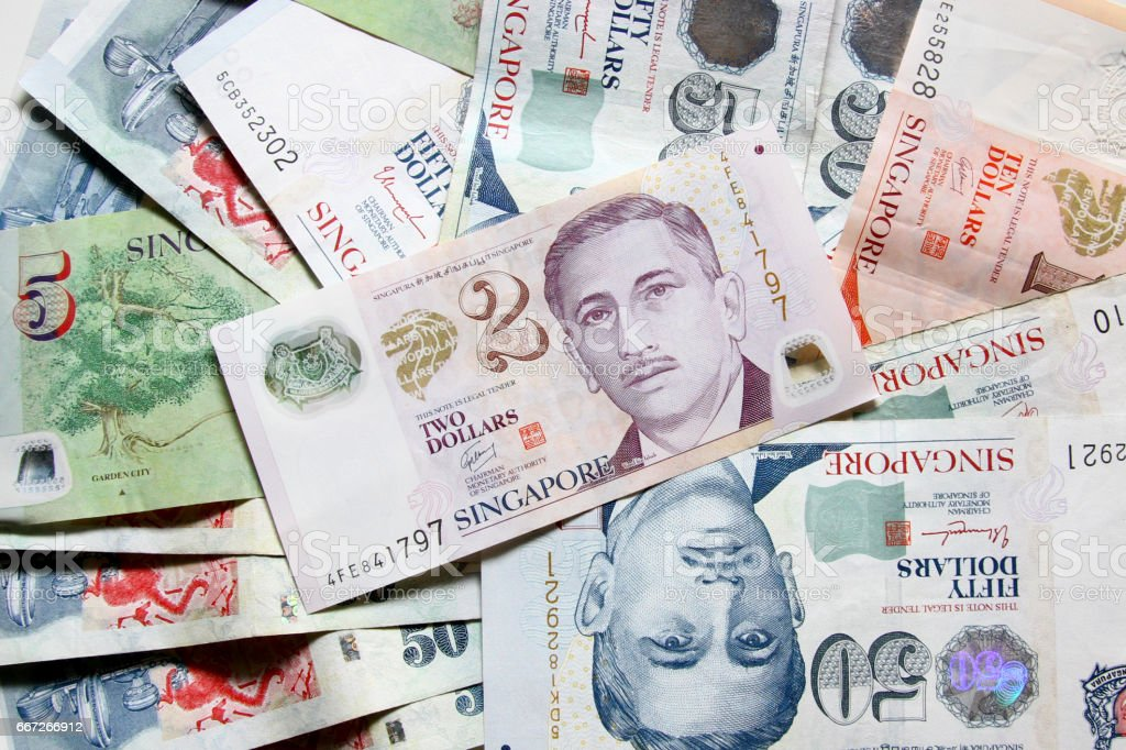 Singapore Dollars bank notes stock photo