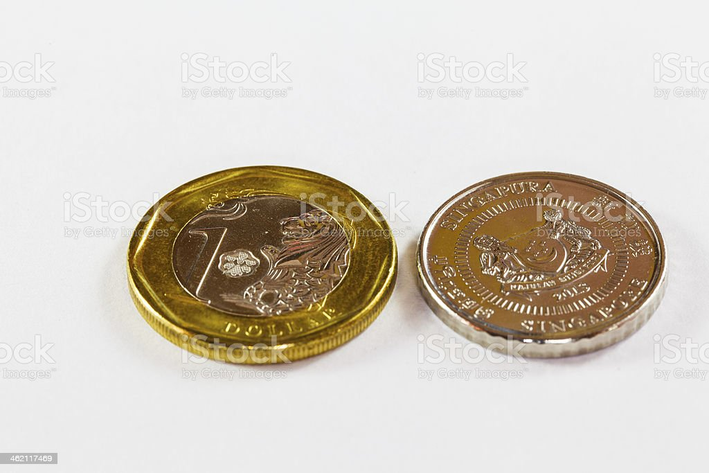 Singapore Dollars Coins royalty-free stock photo