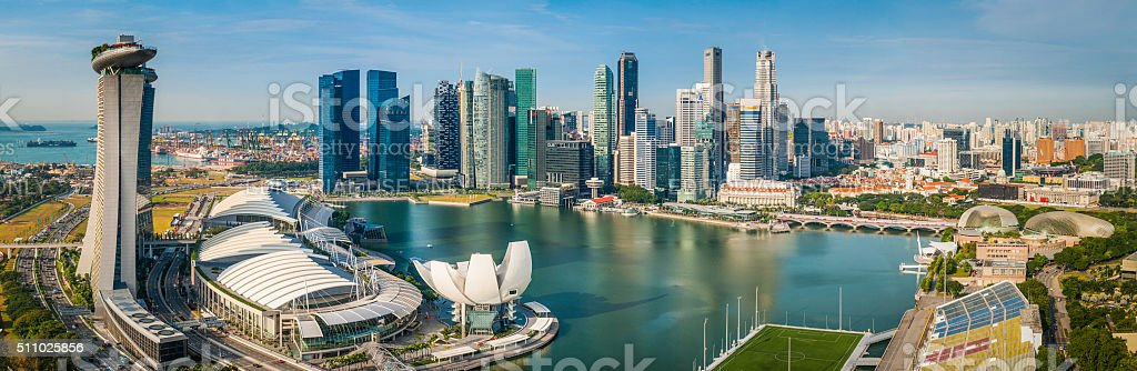 Singapore downtown CBD skyscrapers overlooking Marina Bay futuristic cityscape panorama stock photo