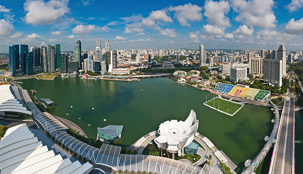 Singapore downtown cityscape panorama Marina Bay landmarks Aerial panoramic vista over the skyscrapers and landmarks of Singapore, from the crowded high rises of the Central Business District, the waterfront restaurants and hotels, Merlion Park and the Singapore River to the floating stadium, museums and malls of Marina Bay. ProPhoto RGB profile for maximum color fidelity and gamut. esplanade theater stock pictures, royalty-free photos & images