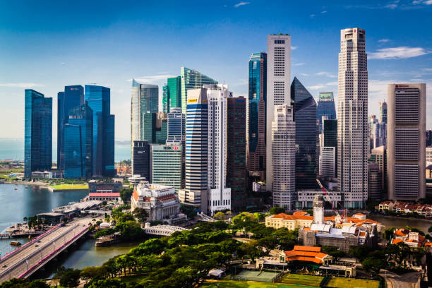 singapore downtown skyline. daytime city view. - singapore stock photos and pictures
