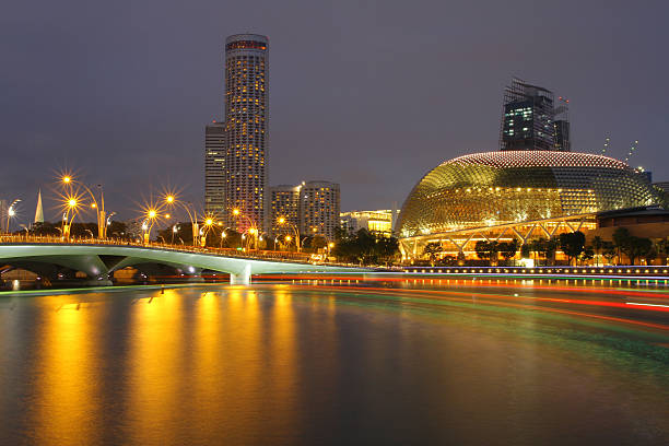 Singapore Esplanade Theater at night Singapore Esplanade Theater at night esplanade theater stock pictures, royalty-free photos & images