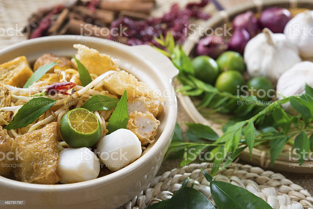 Singapore famous curry noodle stock photo