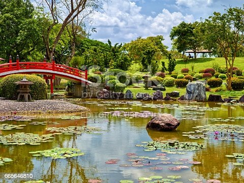 istock Singapore, February 19 2017: A traditional footbridge over water in a Japanese Garden 665646810