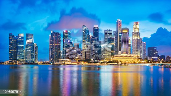 Singapore financial district skyline at Marina bay on twilight time, Singapore city, South east asia.